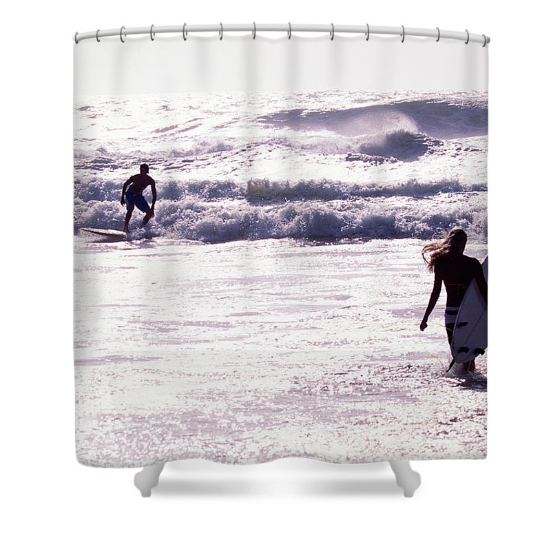 Wind Shower Curtain featuring the photograph Man Surfing On Sea, Woman Walking With by Johner Images