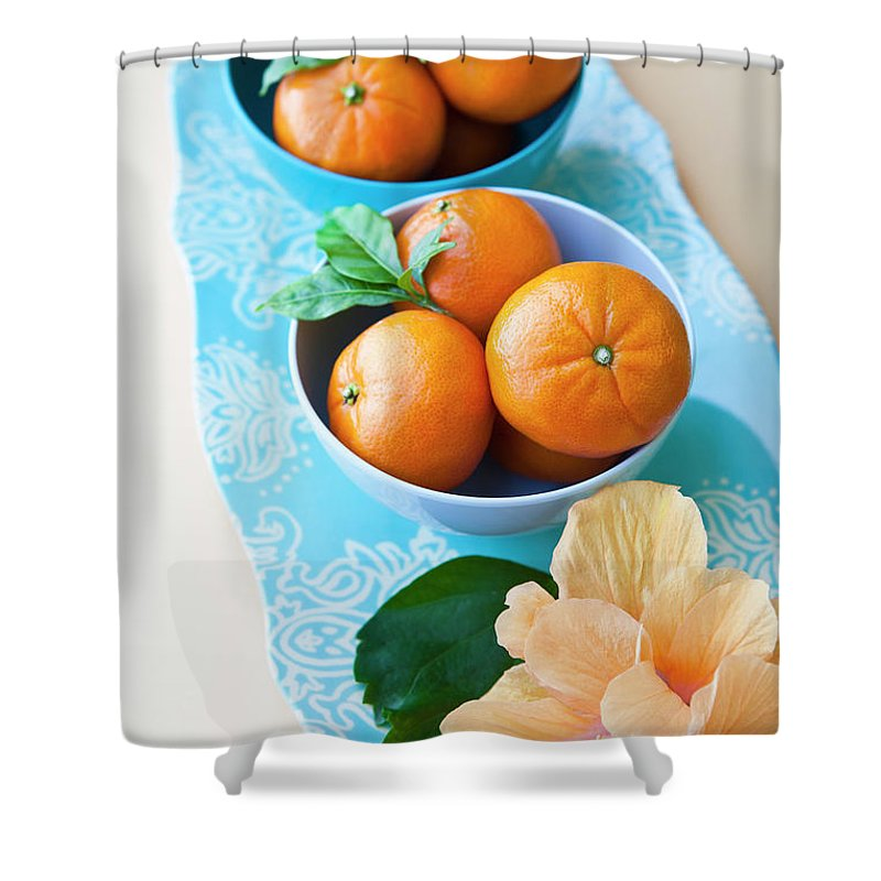 Florida Shower Curtain featuring the photograph Mandarin Oranges On A Platter by Pam Mclean
