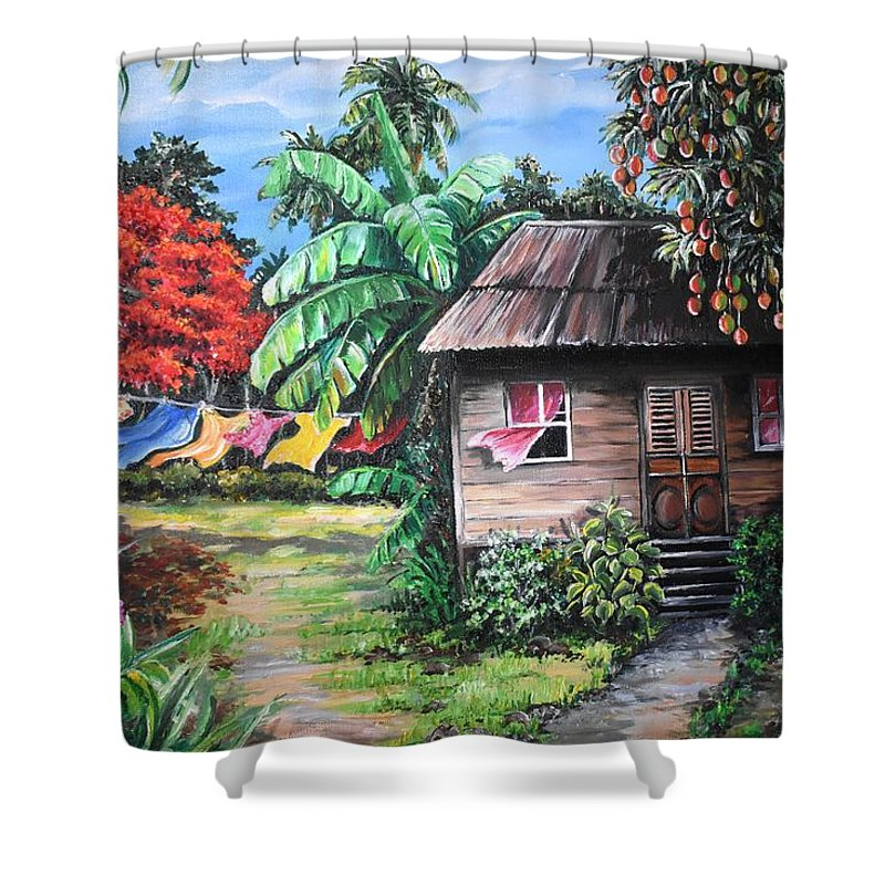 Old House Shower Curtain featuring the painting Mango Season by Karin Dawn Kelshall- Best