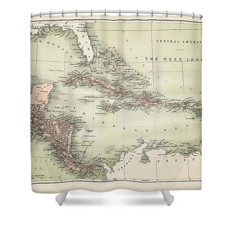 Barbados Shower Curtain featuring the digital art Map Od The Caribbean 1860 by Thepalmer