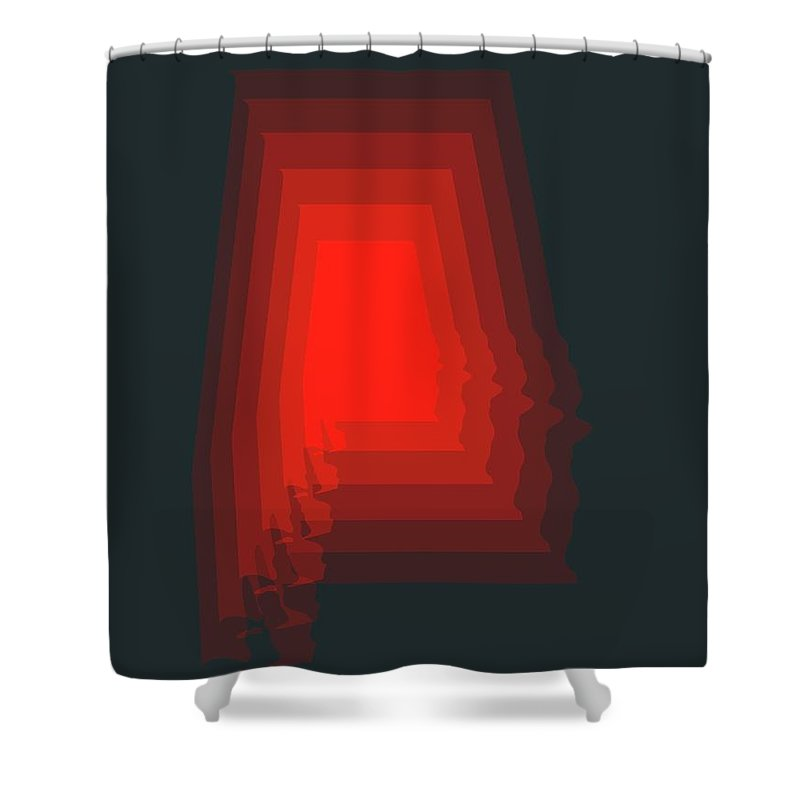 Alabama Shower Curtain featuring the digital art Map of Alabama by Naxart Studio