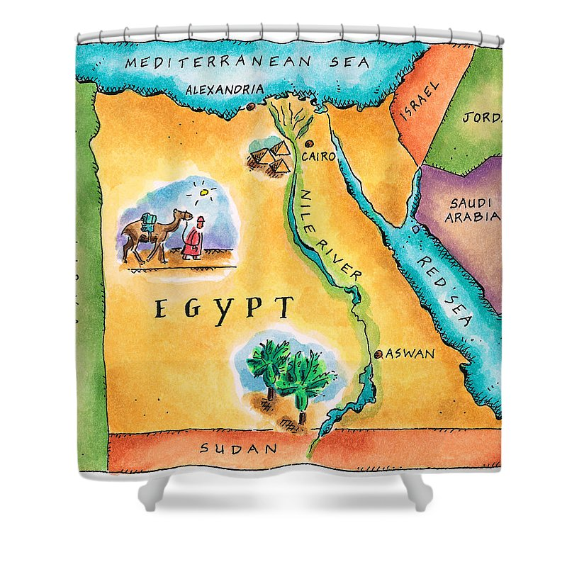 Watercolor Painting Shower Curtain featuring the digital art Map Of Egypt by Jennifer Thermes