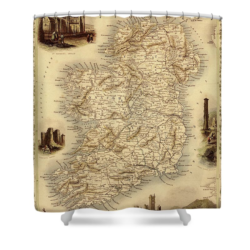Journey Shower Curtain featuring the digital art Map Of Ireland From 1851 by Nicoolay