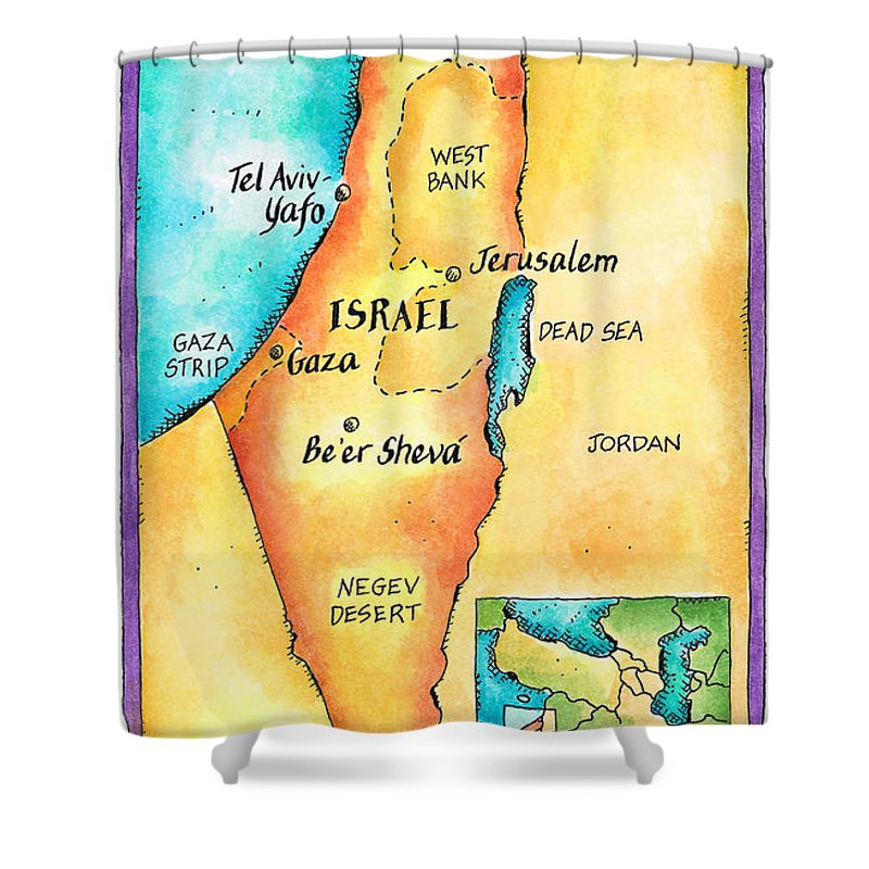 Watercolor Painting Shower Curtain featuring the digital art Map Of Israel by Jennifer Thermes