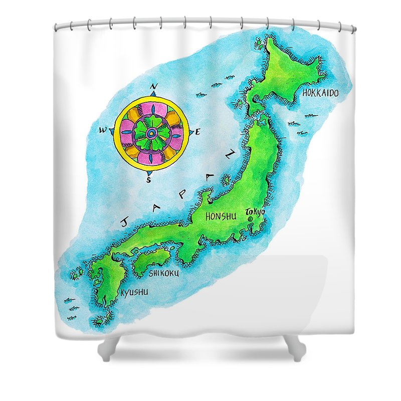 Hokkaido Shower Curtain featuring the digital art Map Of Japan by Jennifer Thermes