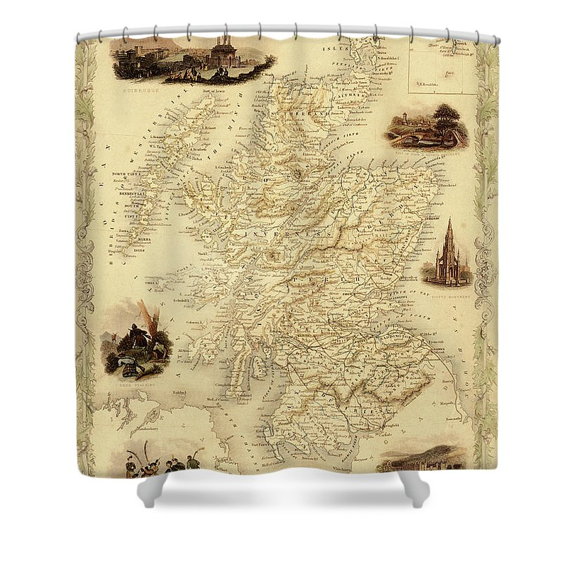 Journey Shower Curtain featuring the digital art Map Of Scotland From 1851 by Nicoolay