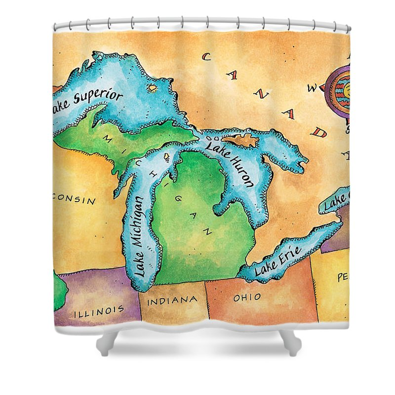 Lake Michigan Shower Curtain featuring the digital art Map Of The Great Lakes by Jennifer Thermes