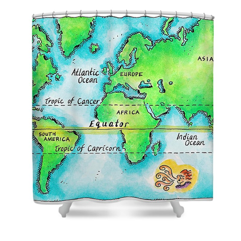 Watercolor Painting Shower Curtain featuring the digital art Map Of The World & Equator by Jennifer Thermes