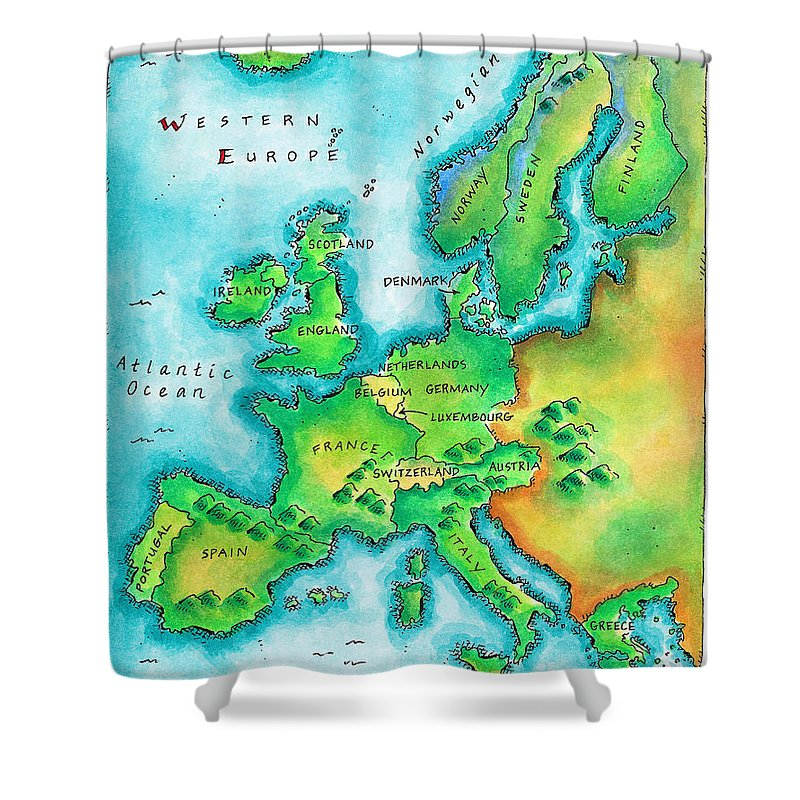 Watercolor Painting Shower Curtain featuring the digital art Map Of Western Europe by Jennifer Thermes