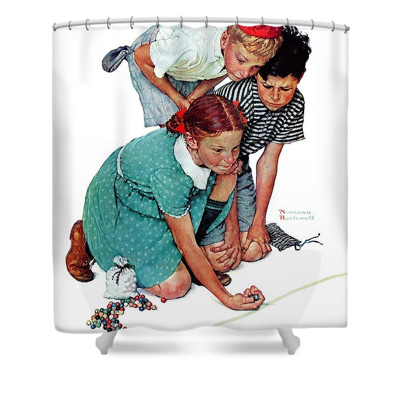 Boys Shower Curtain featuring the drawing Marbles Champ by Norman Rockwell