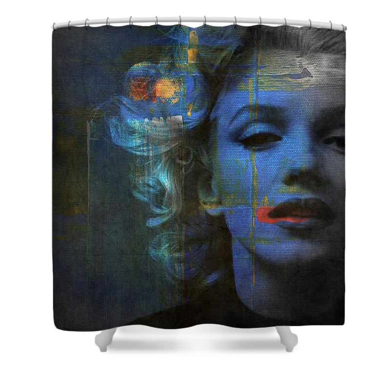 Monroe Shower Curtain featuring the mixed media Marilyn Monroe - Retro by Paul Lovering