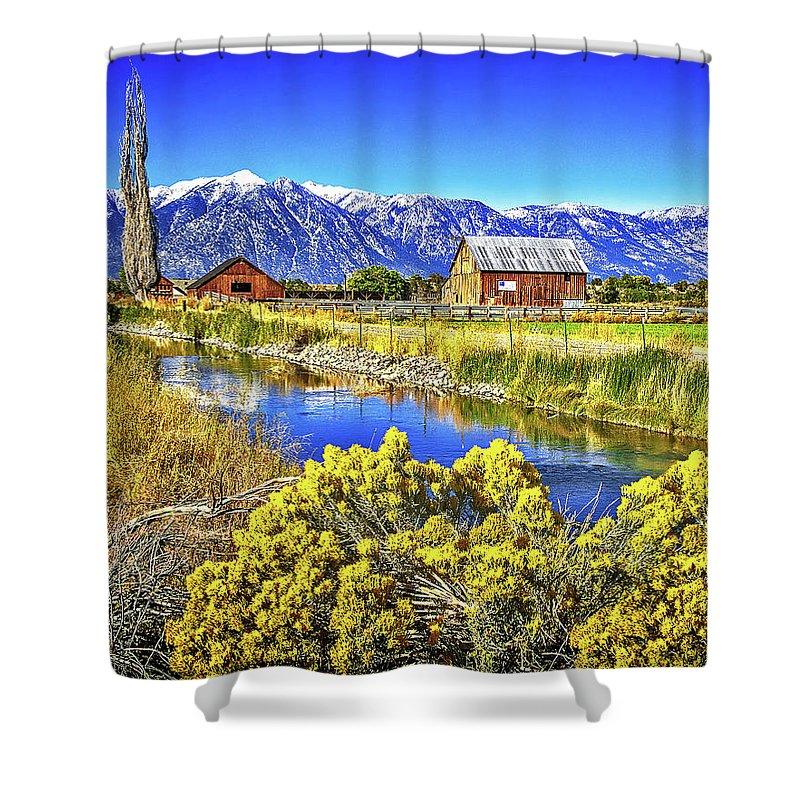 Barn Shower Curtain featuring the photograph Marlboro Barn, Gardnerville, Nevada by Don Schimmel