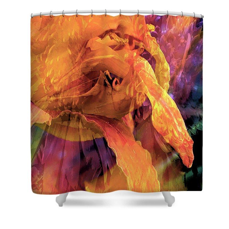 Shower Curtain featuring the digital art Marmalade Bloom by Cindy Greenstein