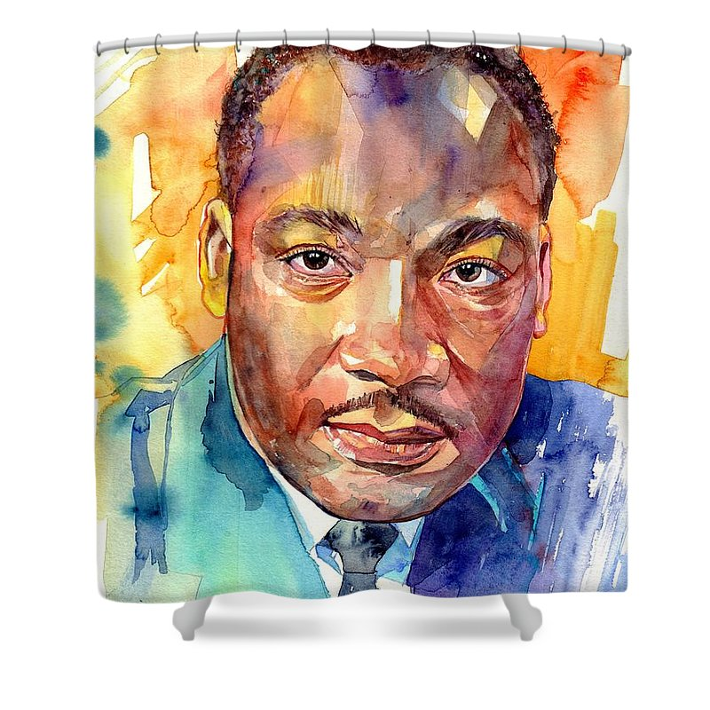 Martin Luther King Jr Shower Curtain featuring the painting Martin Luther King Jr Watercolor by Suzann Sines