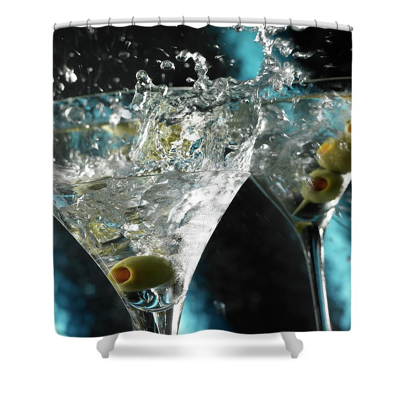 Alcohol Shower Curtain featuring the photograph Martini Wild Splash by Triton21