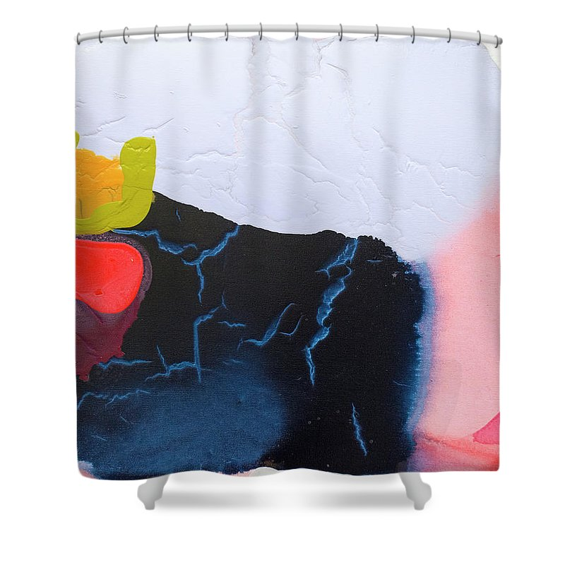 Abstract Shower Curtain featuring the painting Maya 01 by Claire Desjardins