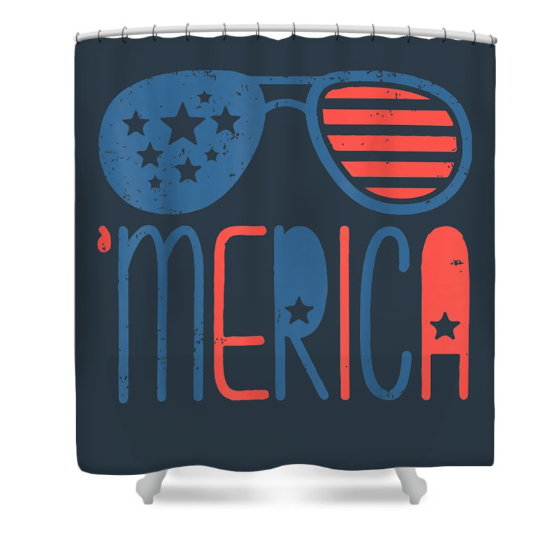 girls' Novelty T-shirts Shower Curtain featuring the digital art Merica American Flag Aviators Toddler Tshirt 4th July White by Unique Tees
