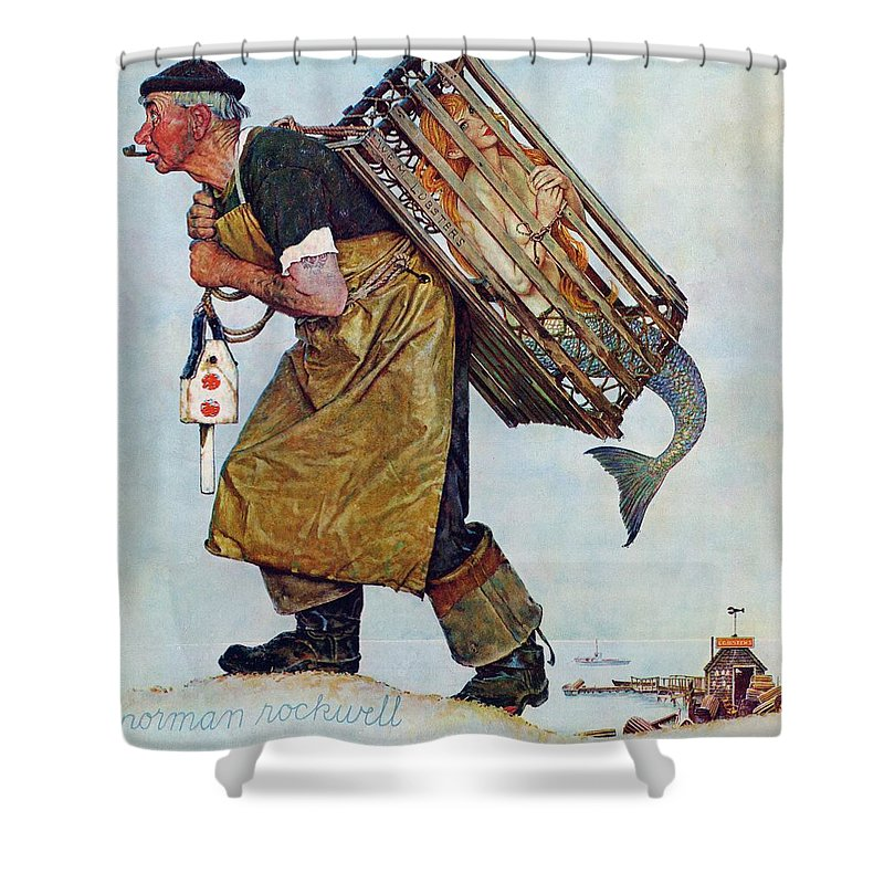 Lobsterman Shower Curtain featuring the drawing Mermaid by Norman Rockwell