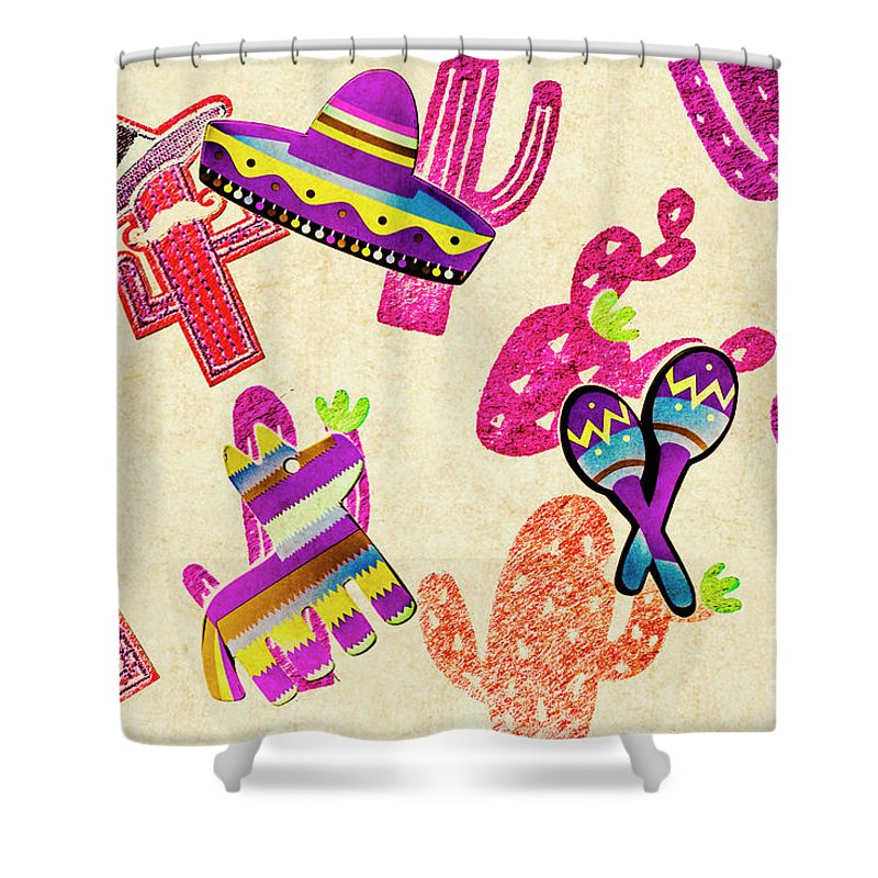 Fiesta Shower Curtain featuring the photograph Mexican Mural by Jorgo Photography - Wall Art Gallery