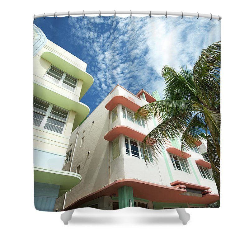 Architectural Feature Shower Curtain featuring the photograph Miami Art Deco Drive Architecture Blue by Peskymonkey