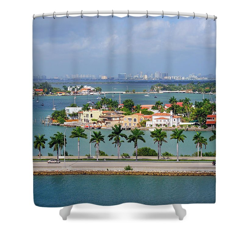 Trading Shower Curtain featuring the photograph Miami Mac Arthur Causeway En Route To by Jfmdesign