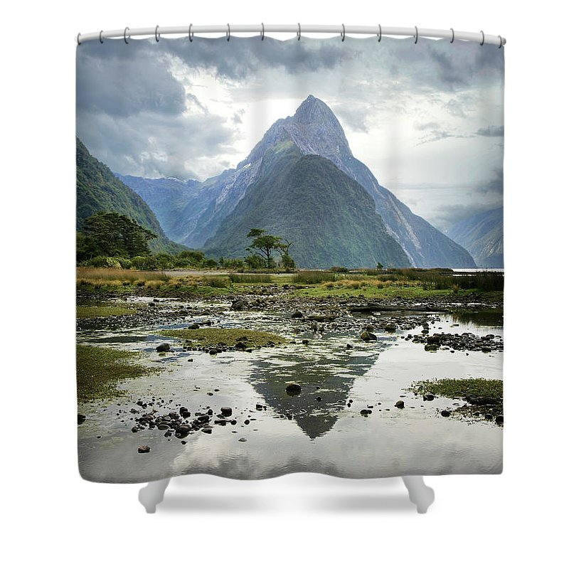 Tranquil Scene Shower Curtain featuring the photograph Milford Sound, South Island, New Zealand by Ed Freeman