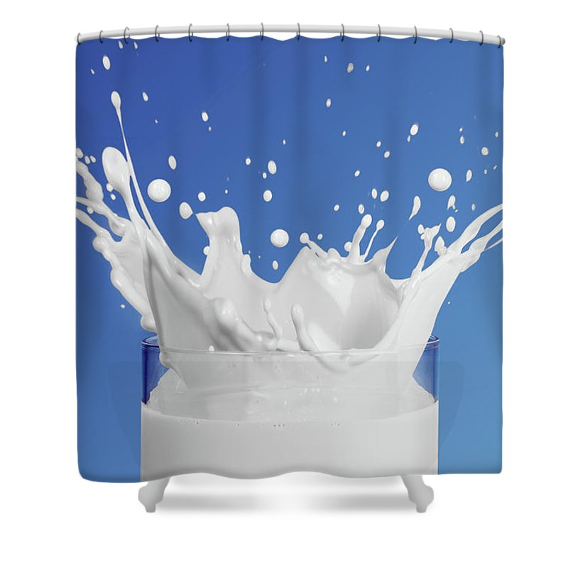 Milk Shower Curtain featuring the photograph Milk Splashing Into Glass by Terry Mccormick