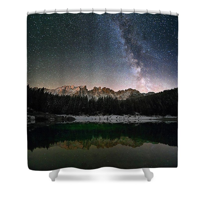 Scenics Shower Curtain featuring the photograph Milky Way In The Alps by Scacciamosche