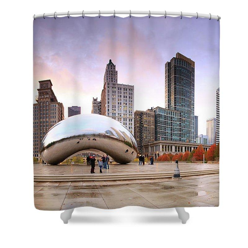 Dawn Shower Curtain featuring the photograph Millennium Park, Chicago, Illinois,usa by Travelpix Ltd