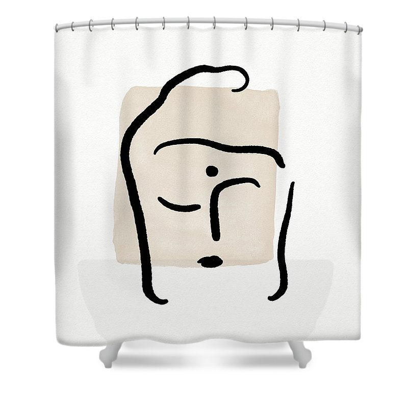 Minimal Shower Curtain featuring the mixed media Minimal Buddha 6- Art By Linda Woods by Linda Woods