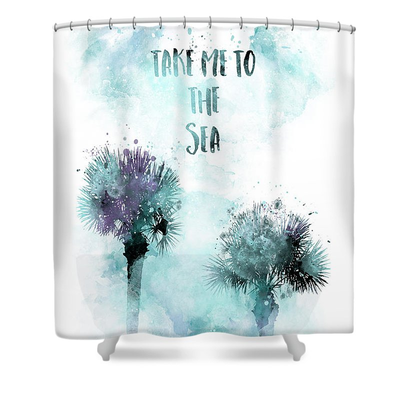 Abstract Shower Curtain featuring the digital art Modern Art TAKE ME TO THE SEA - jazzy watercolor by Melanie Viola