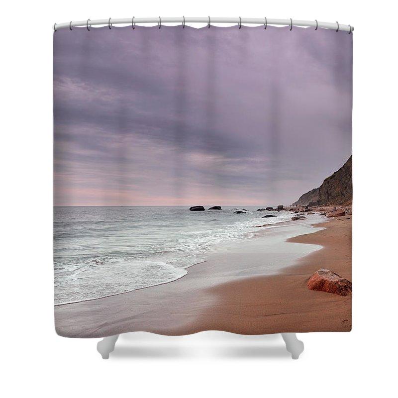 Water's Edge Shower Curtain featuring the photograph Mohegan Bluffs Beach- Block Island by Shobeir Ansari