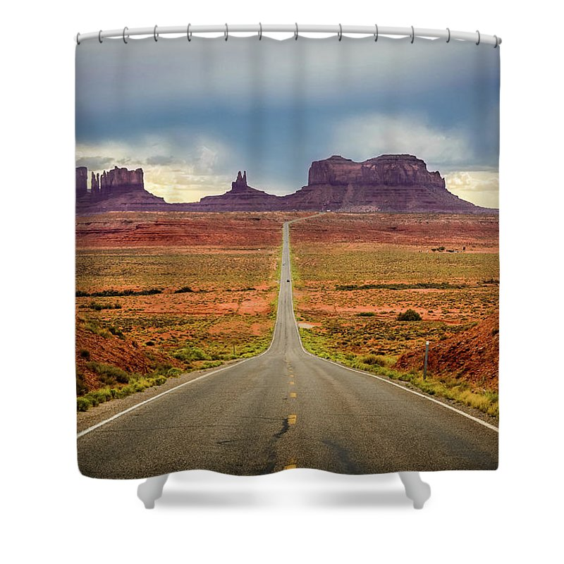Scenics Shower Curtain featuring the photograph Monument Valley by Posnov