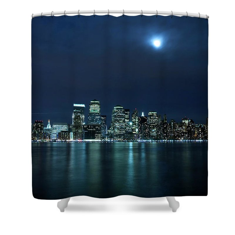 Lower Manhattan Shower Curtain featuring the photograph Moon Light Over New York City by Brandonj74