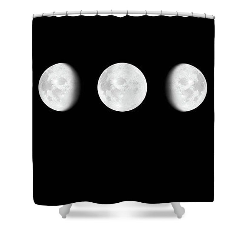Sequential Series Shower Curtain featuring the photograph Moon Surface With Different Phases Xxxl by Cruphoto