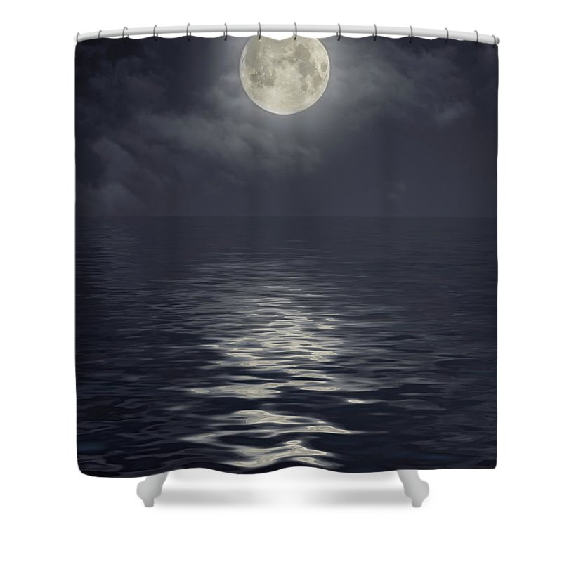 Scenics Shower Curtain featuring the photograph Moon Under Ocean by Andreyttl