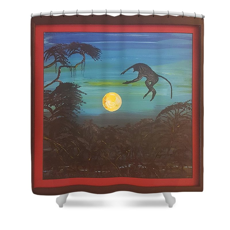 Moonlight Baboon Shower Curtain featuring the photograph Moonlight Baboon by Quintus Curtius