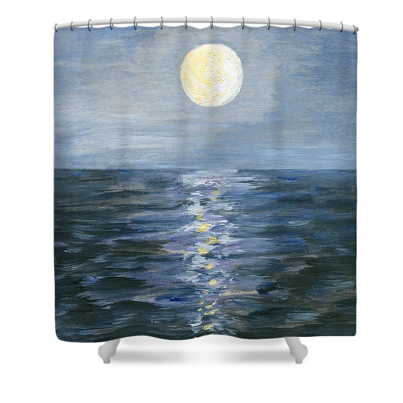 Oil Painting Shower Curtain featuring the digital art Moonlight Reflection In The Sea by Mitza