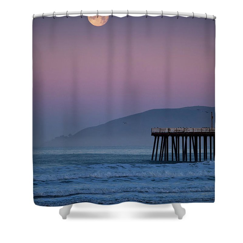 Pismo Beach Shower Curtain featuring the photograph Moonset At Pismo Beach by Mimi Ditchie Photography