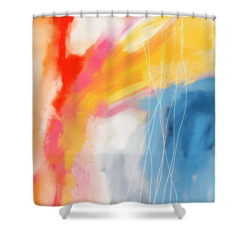 Abstract Shower Curtain featuring the mixed media Morning 2- Art by Linda Woods by Linda Woods