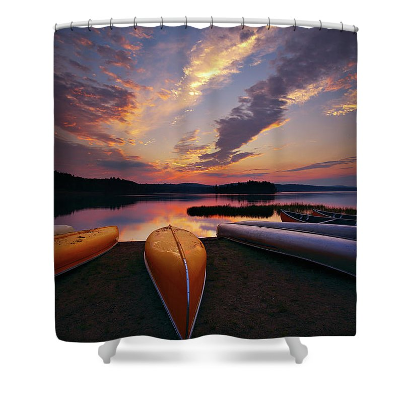 Tranquility Shower Curtain featuring the photograph Morning At Lake Of The Two Rivers by Henry@scenicfoto.com