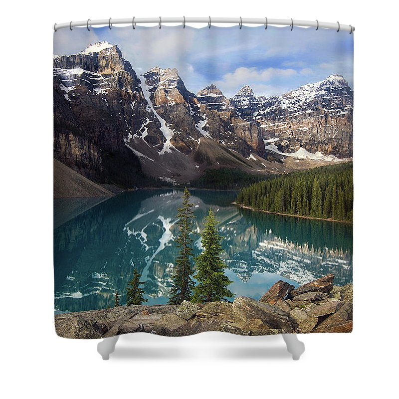 Lake Moraine Shower Curtain featuring the photograph Morning At Moraine by Art Cole