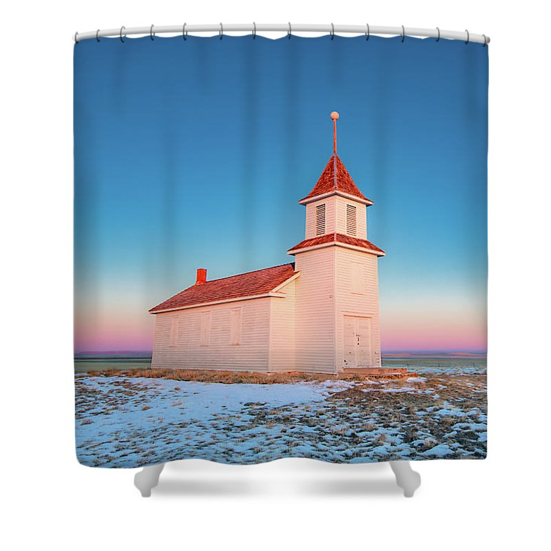 Church Shower Curtain featuring the photograph Morning Hues by Todd Klassy