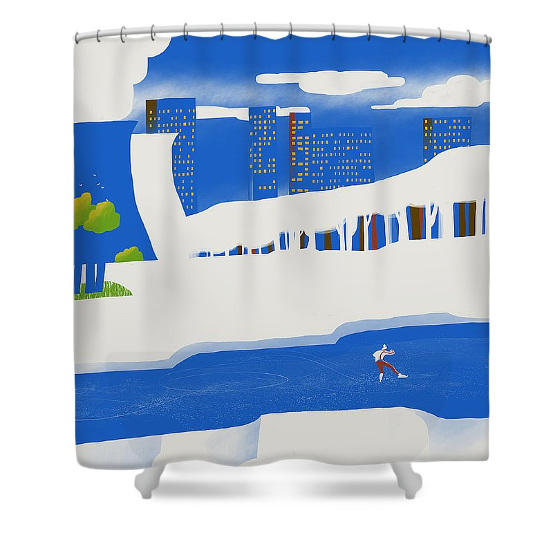 People Shower Curtain featuring the digital art Moscow December by Sergey Maidukov