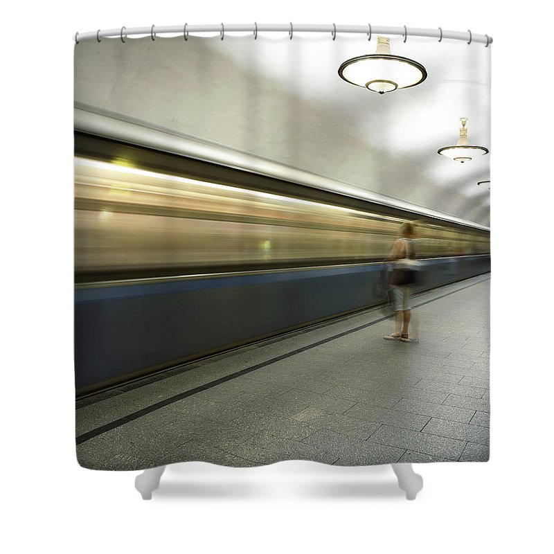 People Shower Curtain featuring the photograph Moscow Metro by Fmajor