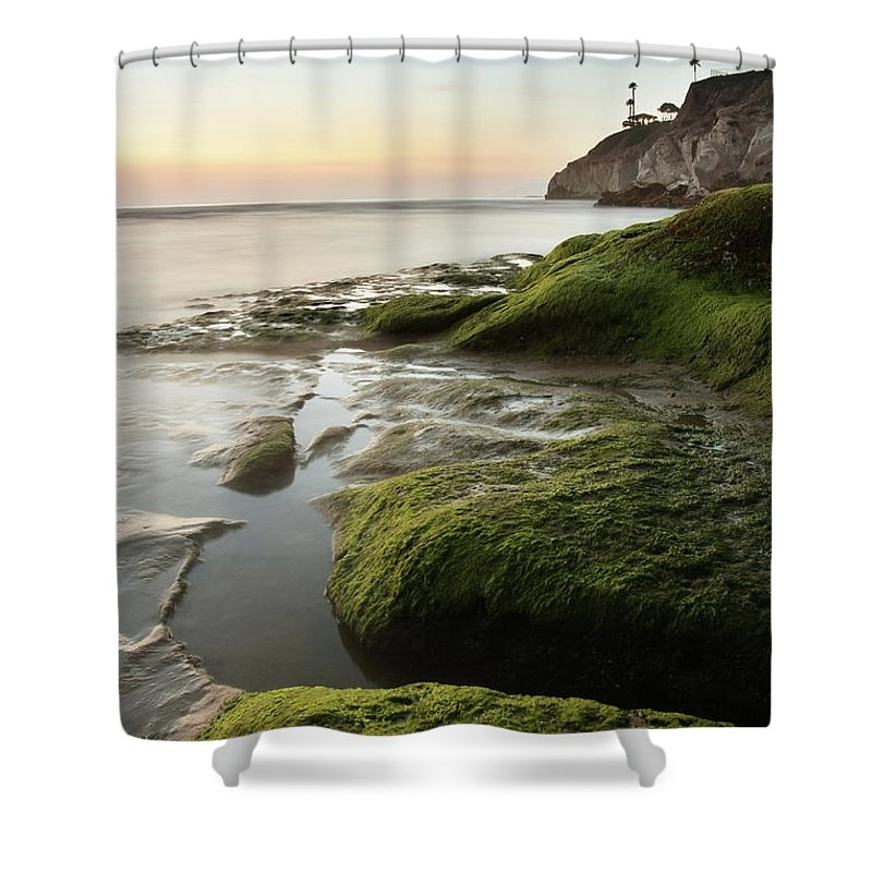 Pismo Beach Shower Curtain featuring the photograph Mossy Rocks At Pismo Beach by Kevinruss