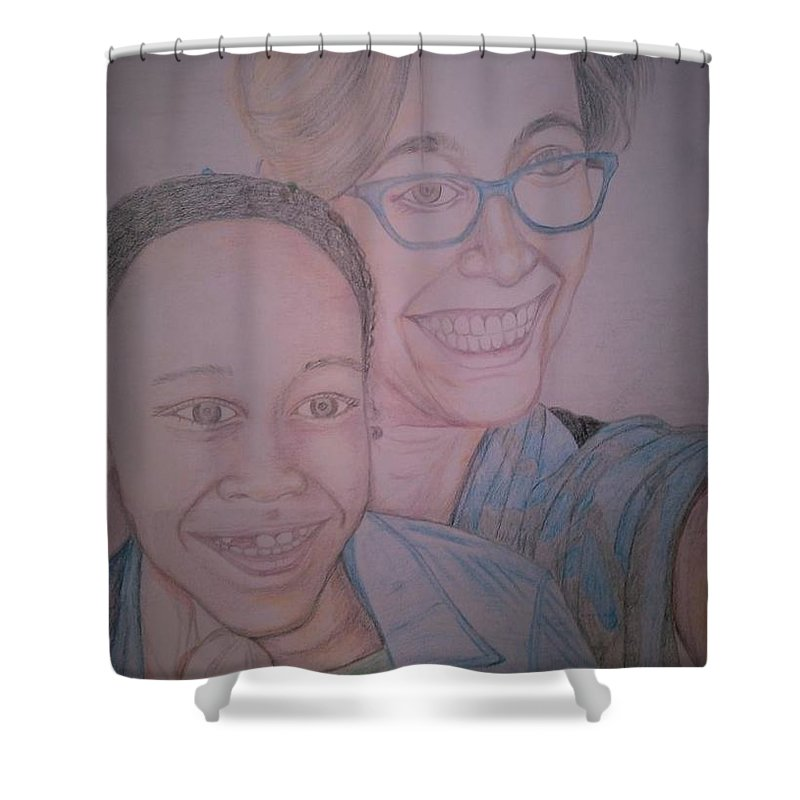 Drawing Shower Curtain featuring the drawing Mother and Daughter by Andrew Johnson
