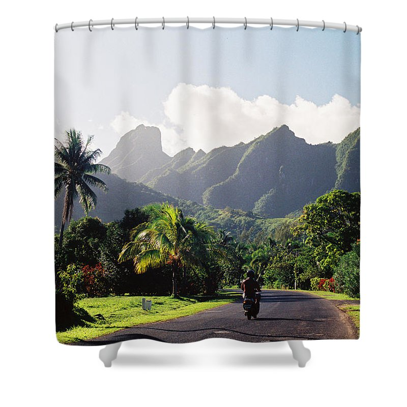 Shadow Shower Curtain featuring the photograph Motorcyclist On Polynesian Road by Ejs9