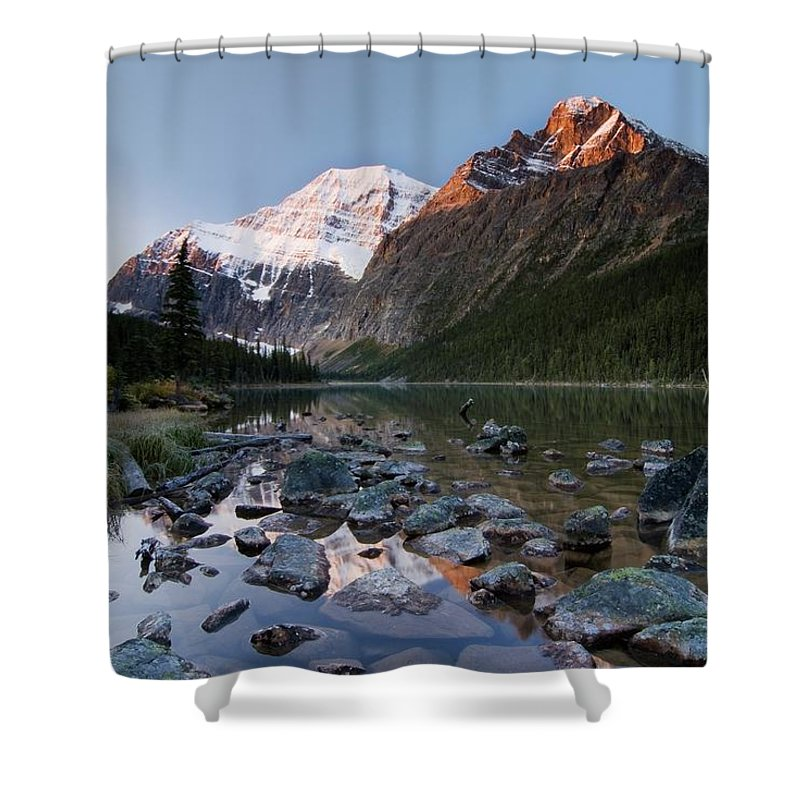 Scenics Shower Curtain featuring the photograph Mount Edith Cavell And Cavell Lake by Design Pics/philippe Widling