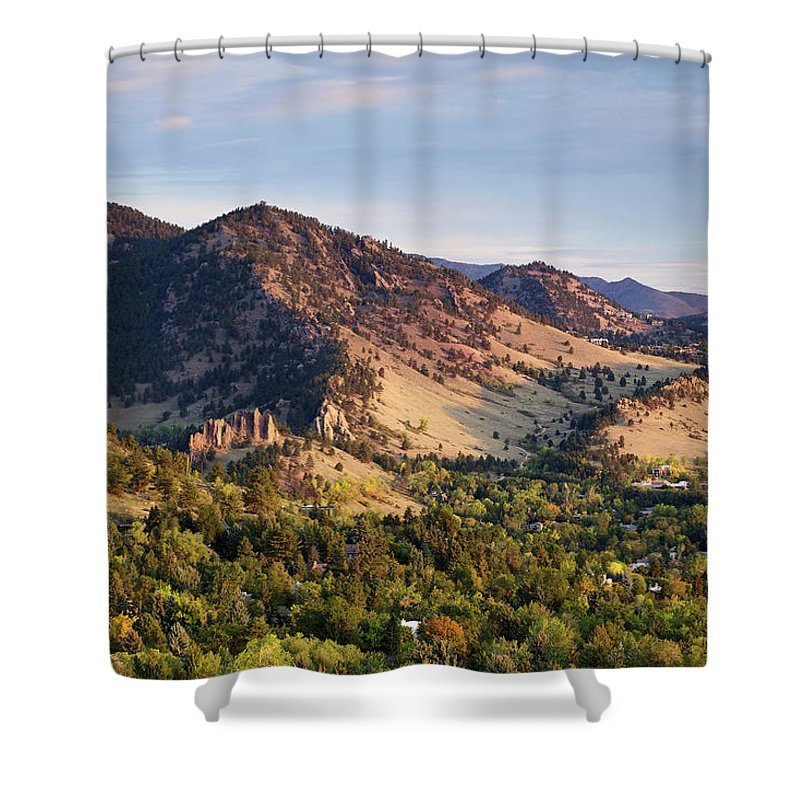 Scenics Shower Curtain featuring the photograph Mount Sanitas And Fall Colors In by Beklaus